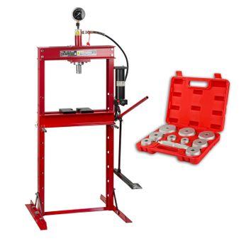 SET 12 Tonnen Werkstattpresse Hand / Fußbedienung + Druckstücksatz 10 tlg – Bild $_i