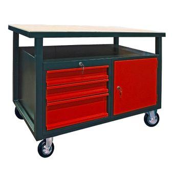 Werkbank Werktisch Arbeitstisch 3 Schubladen 1 Tür mit Rollen fahrbar – Bild $_i