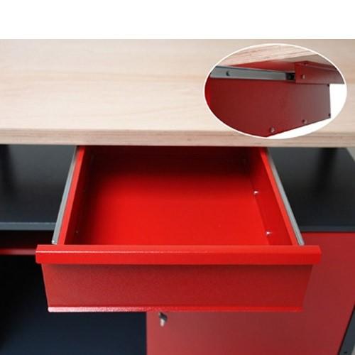 Werkbank / Werktisch Light 60x120 rot/anthrazit
