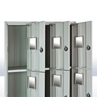 Metall Leichtbau Schließfachschrank / Fächerschrank - 9 Fächer - Lichtgrau – Bild $_i