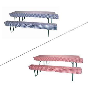 2x Hussen / Sitzpolster + 1x Tischdecke Set für Bierzeltgarnitur -Farbwahl- – Bild $_i