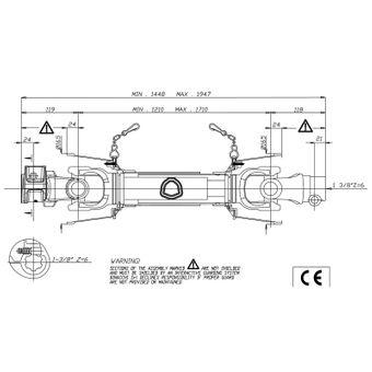 Binacchi Gelenkwelle / Zapfwelle B06 1210-1010 / 145-195 cm – Bild $_i