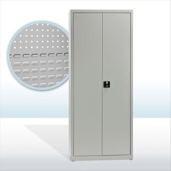 Werkzeugschrank / Materialschrank halb / halb lichtgrau 78x38x193 cm