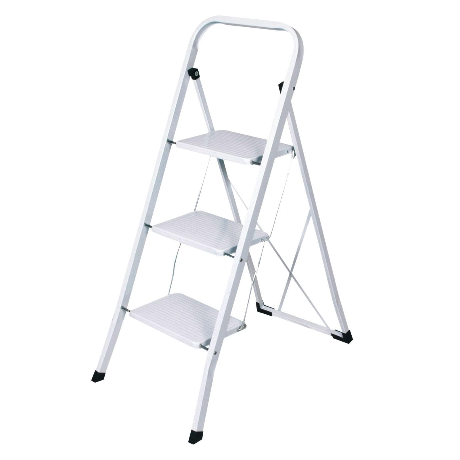Fabulous Haushaltsleiter / Stehleiter 3 Stufen weiß lackiert JE74