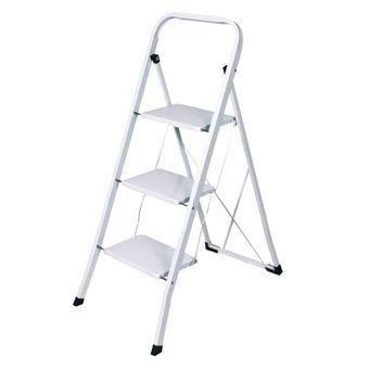 Haushaltsleiter / Stehleiter 3 Stufen weiß lackiert – Bild $_i