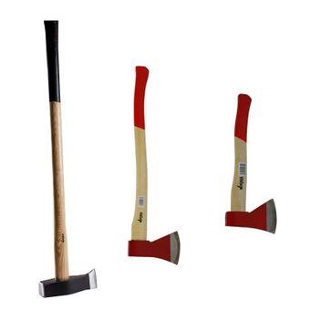 3er Set Beil 36cm - Axt 70cm - Spalthammer 90cm Eschenholz-Stiel