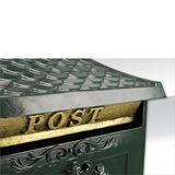 Standbriefkasten ANTIK grün Alu-Guss kunstvoll detailreich