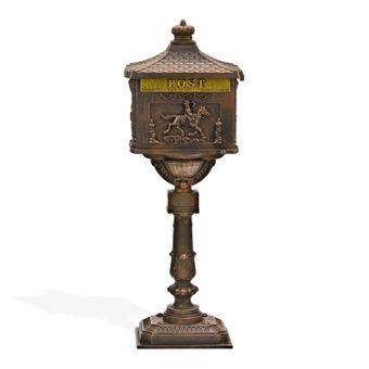 Standbriefkasten ANTIK bronze Alu-Guss kunstvoll detailreich – Bild $_i