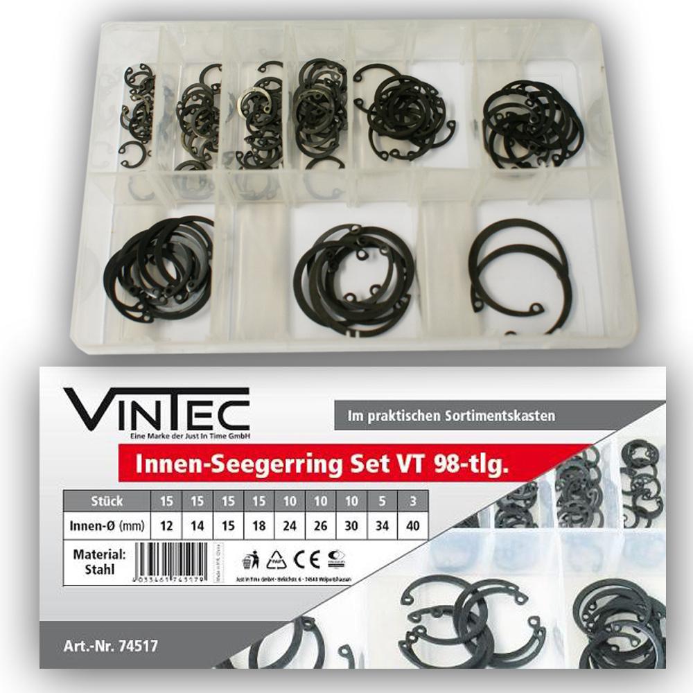 Vintec Innen-Seegerring 98-tlg Stahl Sortiment Setbox Nutenring Sicherungsring 74517