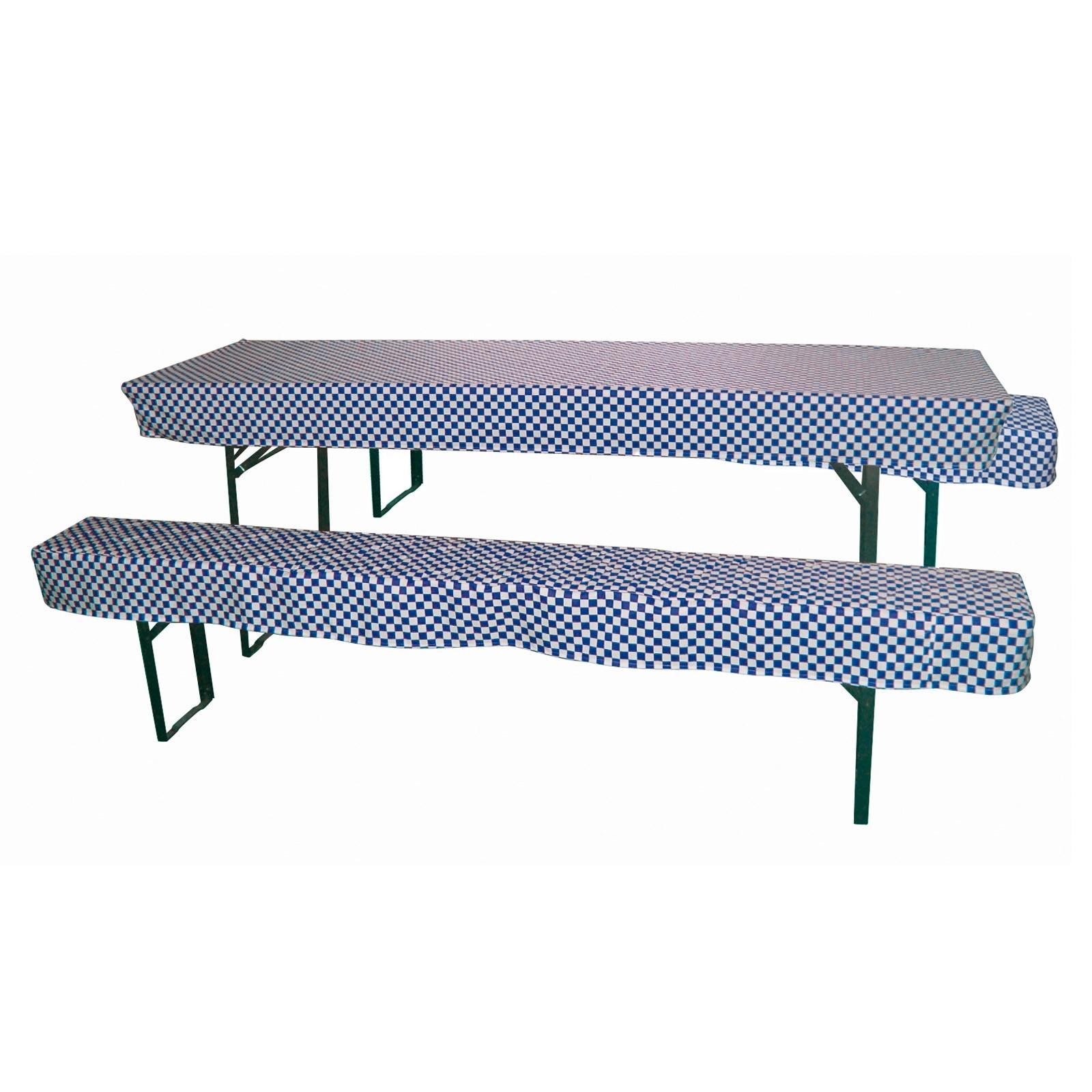 Dema 2x Hussen / Sitzpolster + 1x Tischdecke Set für Bierzeltgarnitur blau / weiß 41176