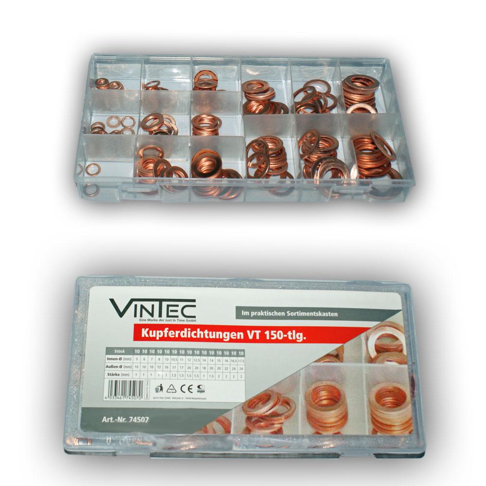 Vintec Kupfer Dichtungen 150-tlg Sortiment Kupferscheiben Setbox 74507