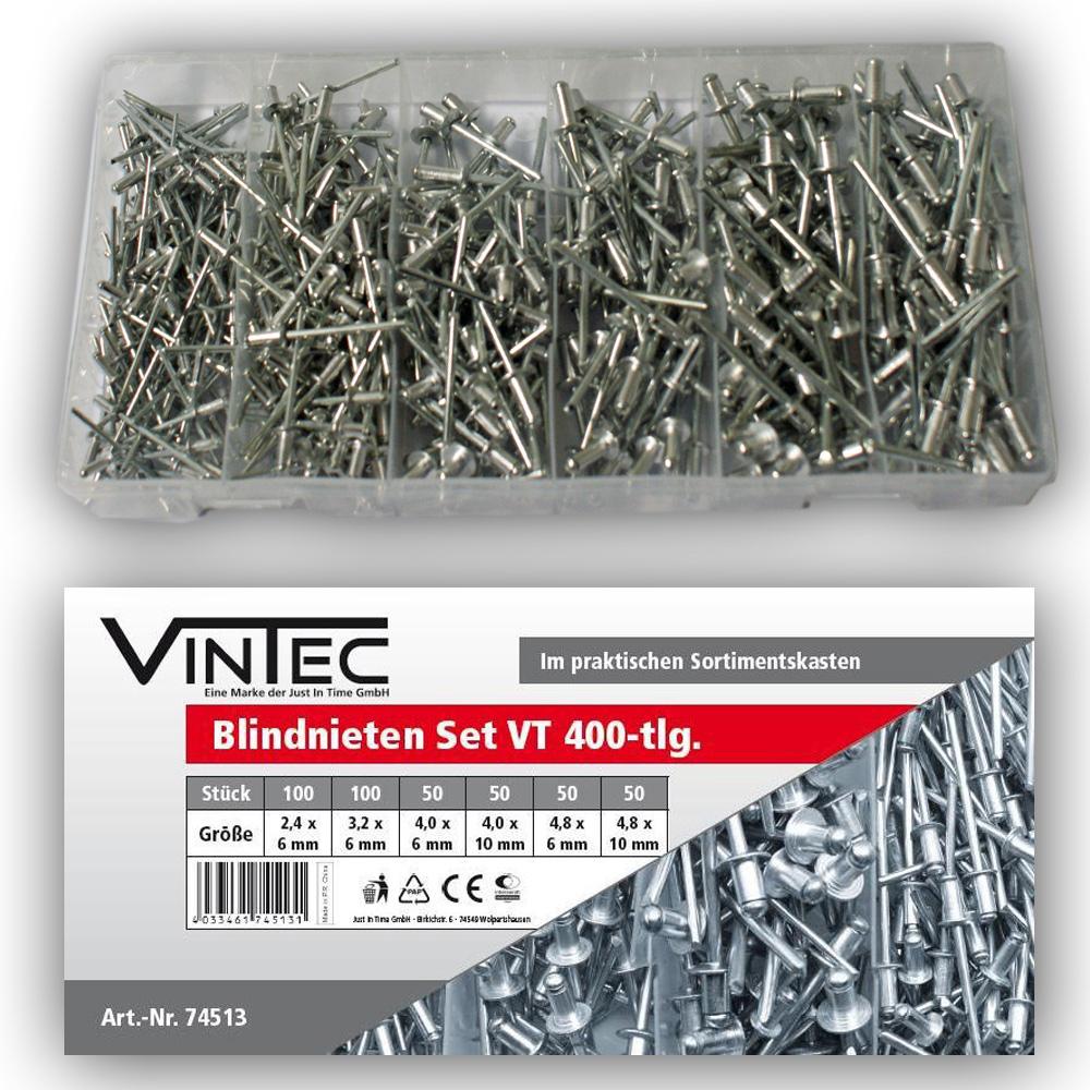Vintec Blindnieten 400-tlg Sortiment 2.4 - 4.8 mm Setbox Zugdornnieten Popnieten 74513