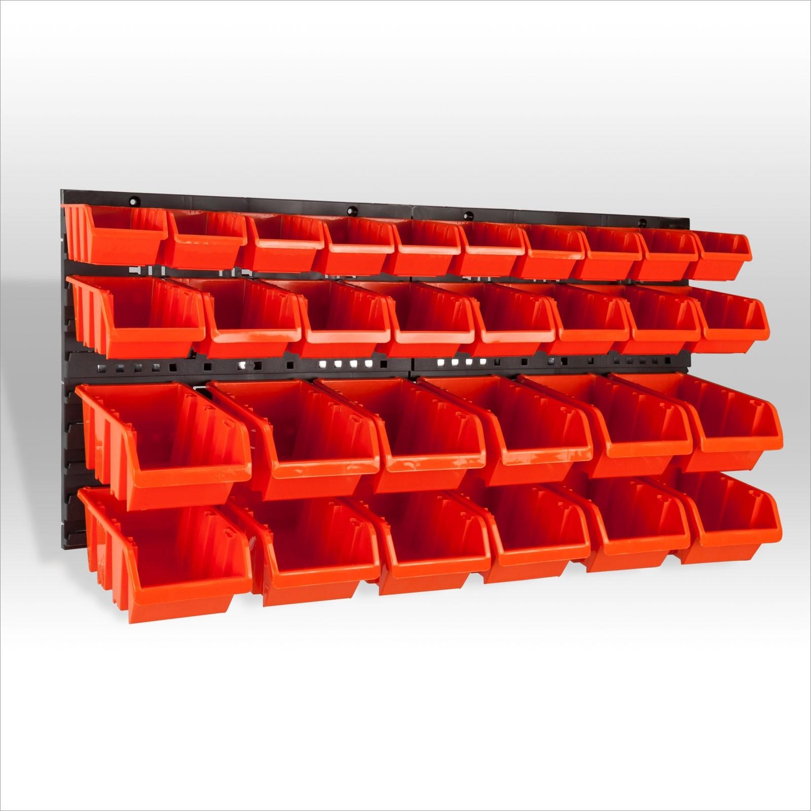 Sichtlagerkästen Wandregal mit 15 Kunststoff Stapelboxen Orange