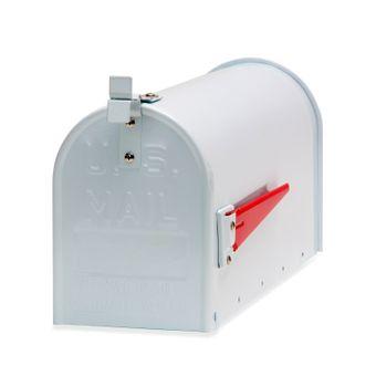 Amerikanischer Briefkasten American Mailbox Zeitungsrolle Postkasten Alu weiß