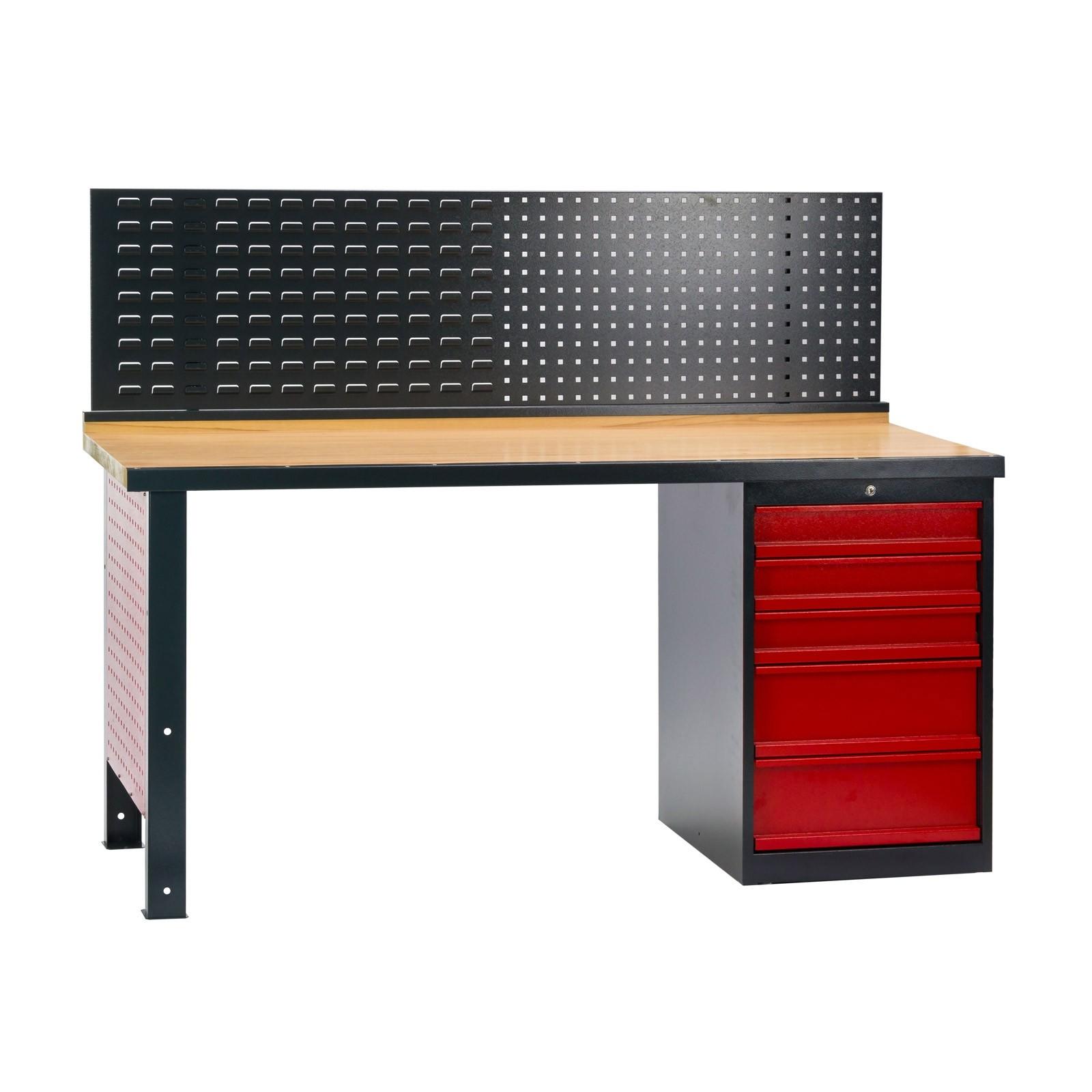 Werkbank / Werktisch mit 5 Schubladen + Rückwand 170x72x135