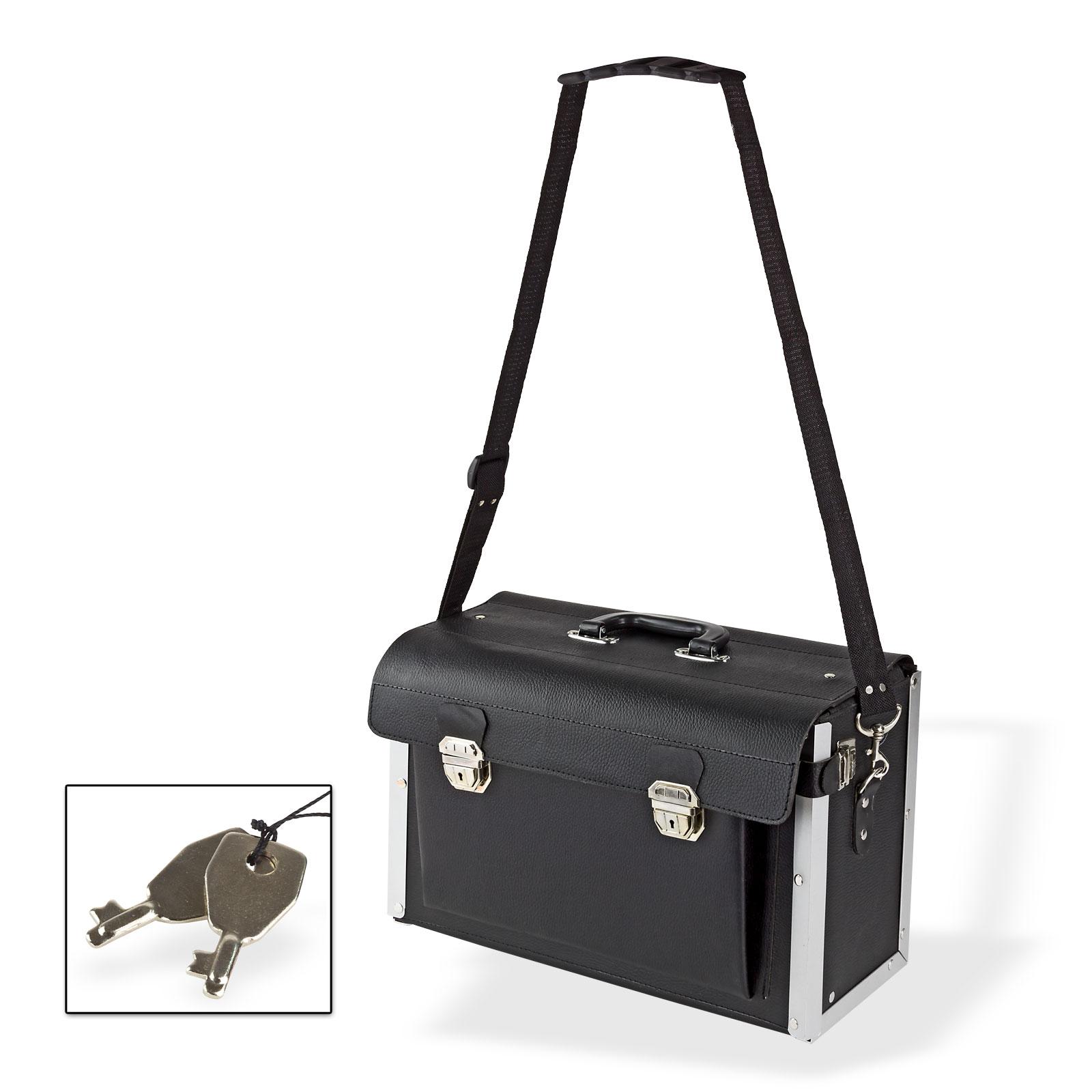 Dema Elektriker Leder Werkzeugkoffer Elektrikerkoffer Werkzeugtasche Koffer leer 20838