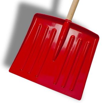 Schneeschieber / Schneeschaufel 30x87 rot mit Holzstiel – Bild $_i