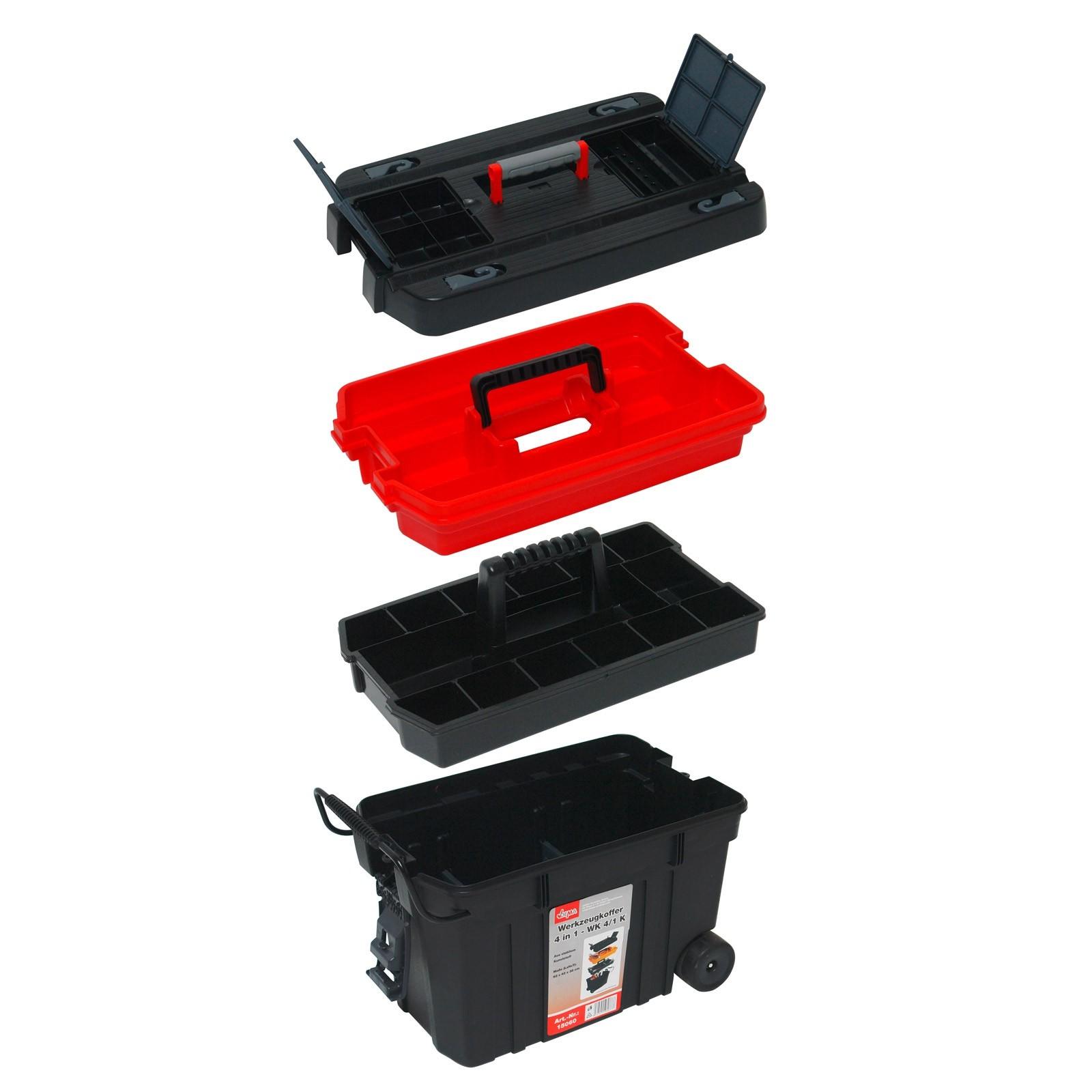 Dema Werkzeugkoffer 4in1 Werkzeugtrolley / Werkzeugkiste fahrbar 15060