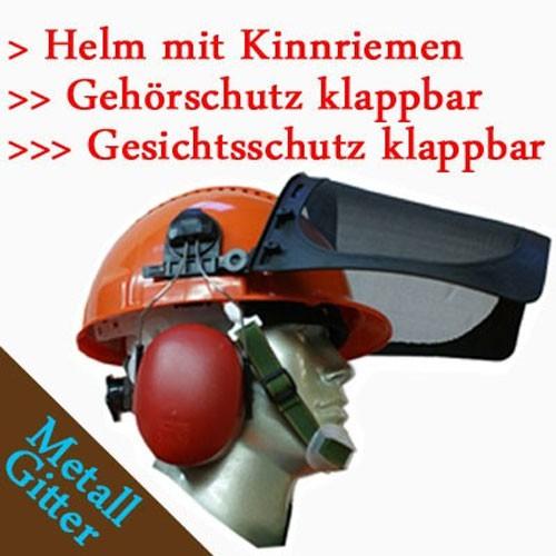 Forsthelm Forstschutzhelm 54-63 cm Norm PSA-Forst Gesichtsschutz Gehörschutz