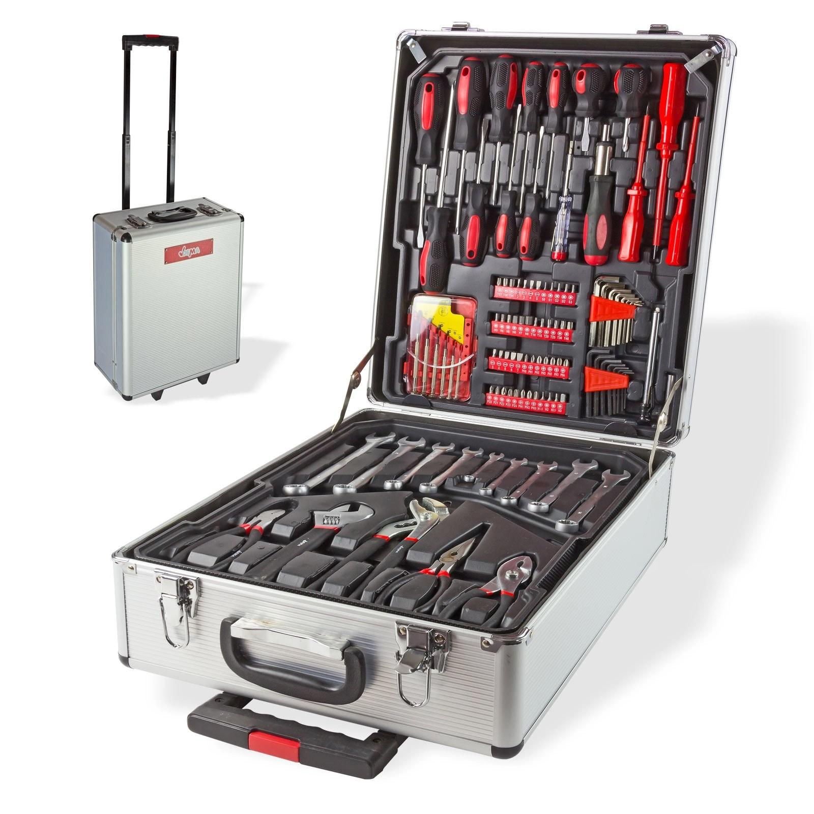 Dema Alu Werkzeugkoffer mit Werkzeug Alukoffer Trolley Koffer 251tlg Werkzeugset 15056