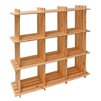 Holzregal / Universalregal aus Massivholz 9 Fächer 113x27x110 – Bild $_i