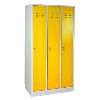 ADB Garderobenschrank Spind 3-türig gelb 1775x890x500 mm