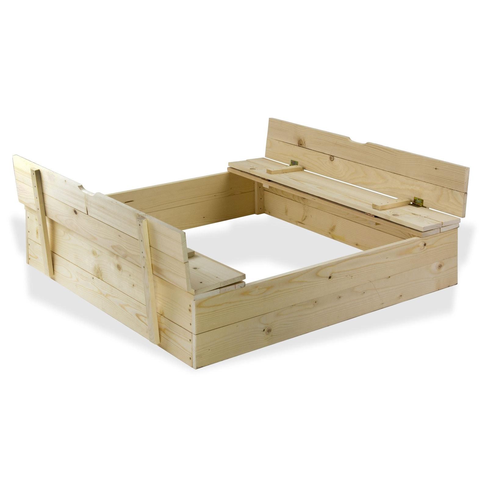 Dema Sandkasten Sandspielkasten aus Holz mit Sitzbänken 120x120 cm 17016