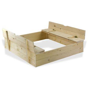Sandkasten / Sandspielkasten aus Holz mit Sitzbänken 120x120 cm – Bild $_i