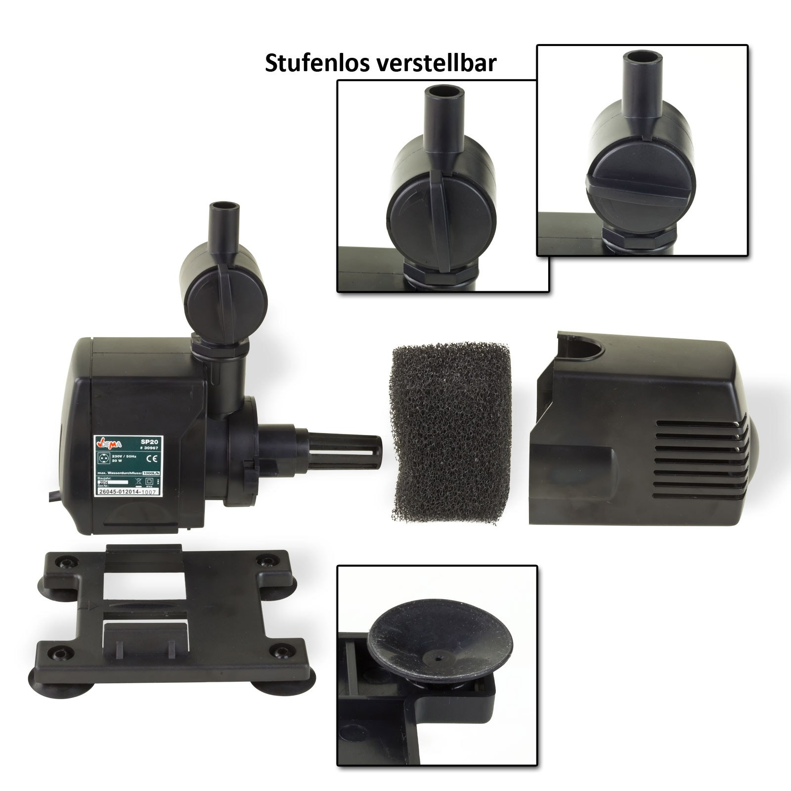 Dema Springbrunnenpumpe SP20 Wasserspiel Pumpe für Gartenteich oder Zierbrunnen 30967