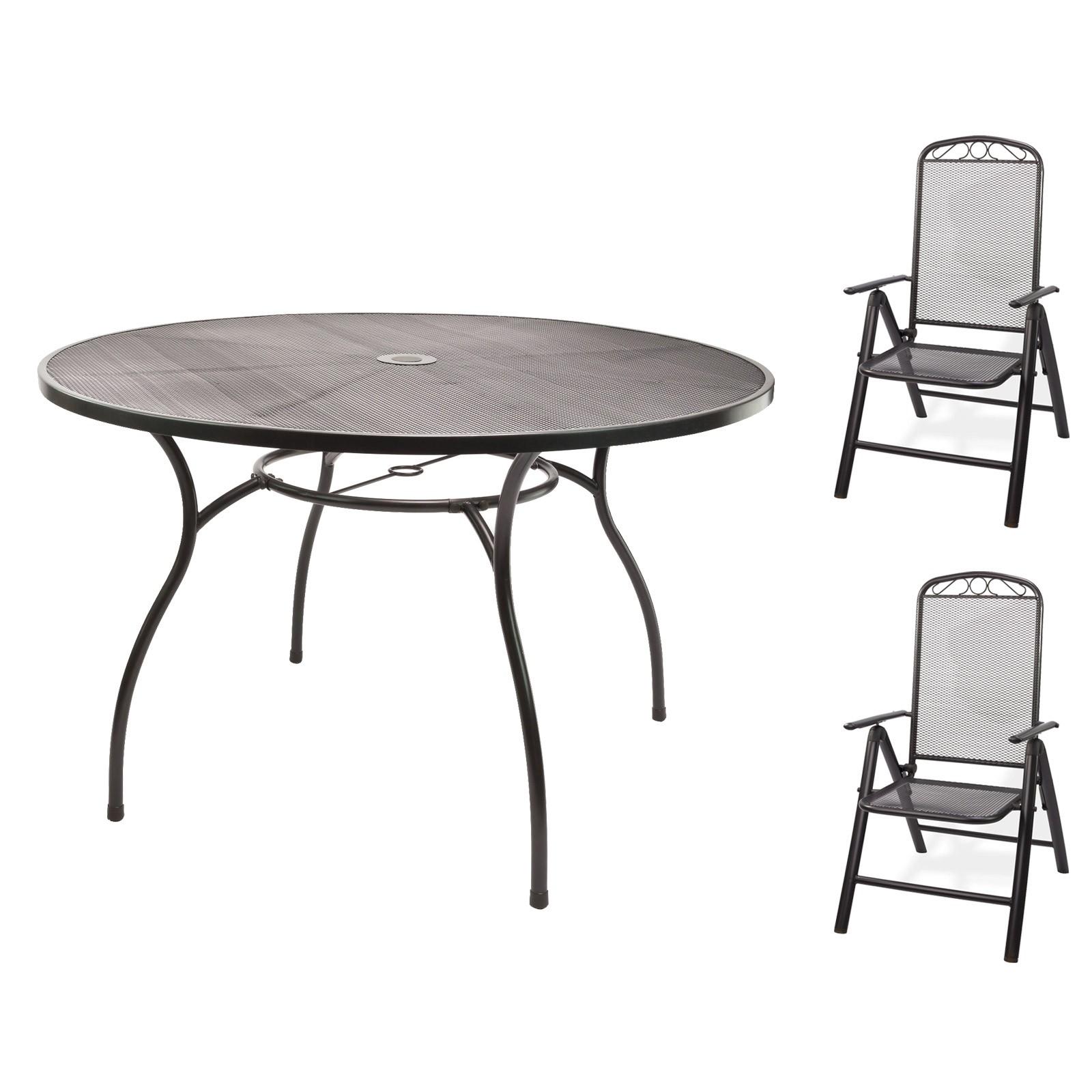 Metall 1 x Tisch rund 120x71 + 2 x Stuhl Set