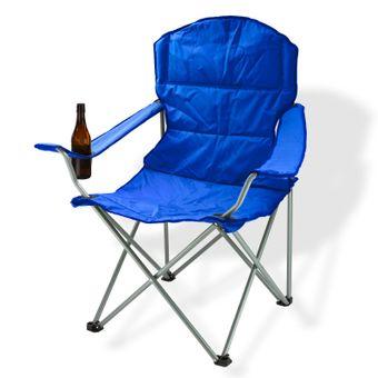 Campingstuhl / Faltstuhl blau Getränkehalter Tasche Anglerstuhl – Bild $_i