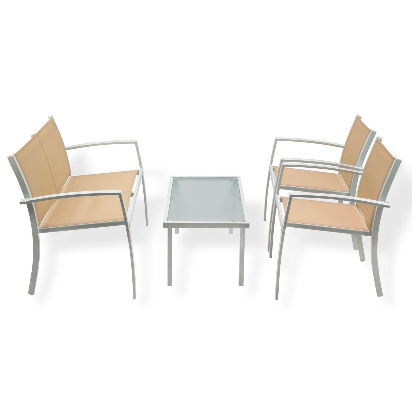 Gartenmöbel Sitzgruppe -Miami- beige 4-tlg. Metall/Kunstfaser