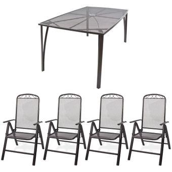 Gartenmöbel aus Streckmetall Set - 1 x Tisch + 4 x Stuhl – Bild $_i