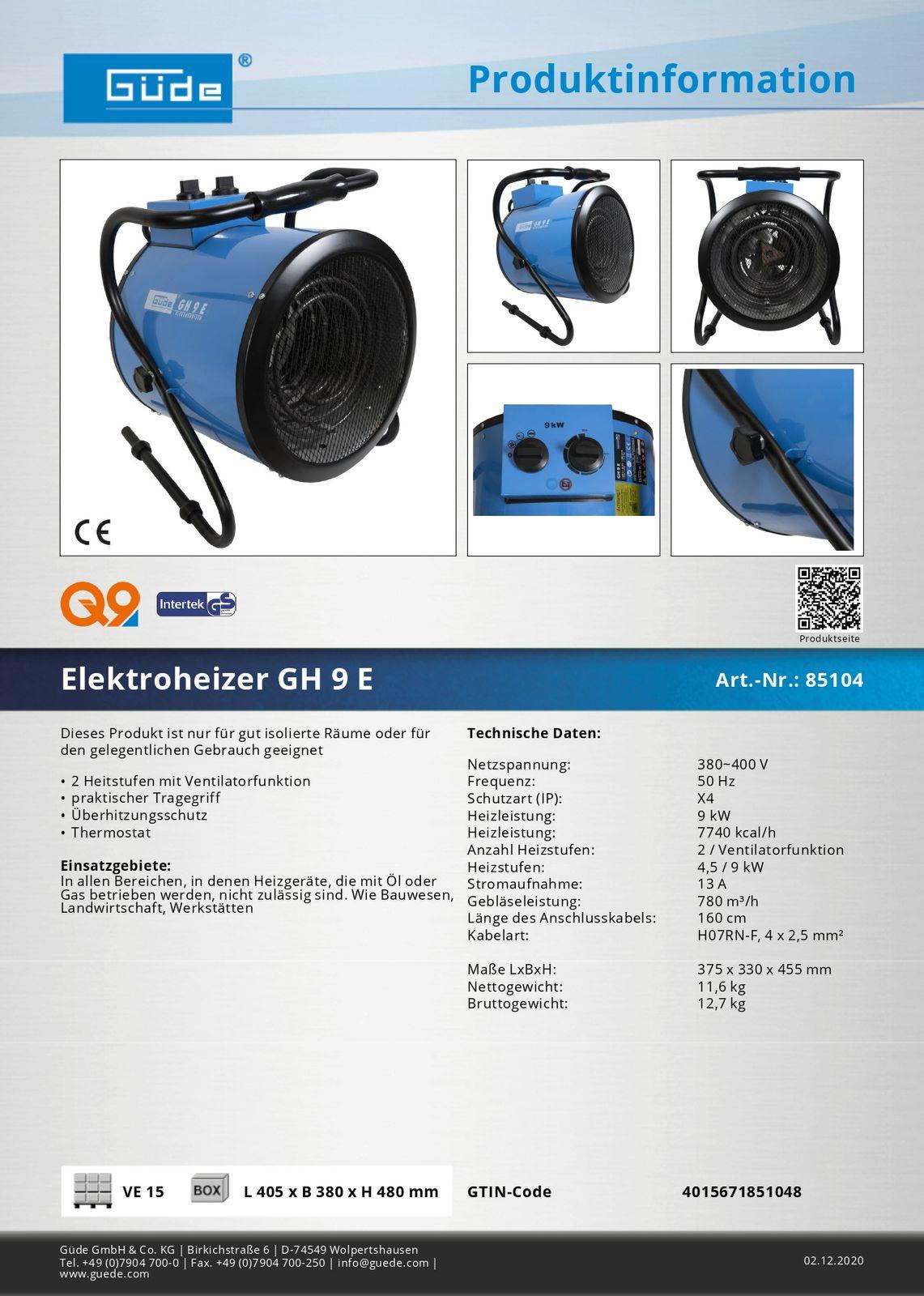 Güde Elektroheizer Heizgebläse Heizlüfter Heizgerät GH 9 E 85104