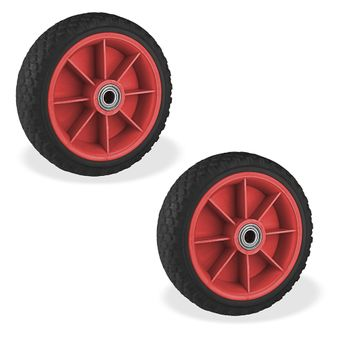2 Stück PU Schubkarrenrad Karrenrad Reifen 65x220 Sackkarrenrad pannensicher – Bild $_i