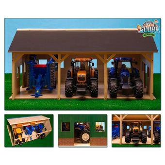 Kids Globe Bauernhof-Schuppen für 3 Traktoren 77,5x57,5x38 cm