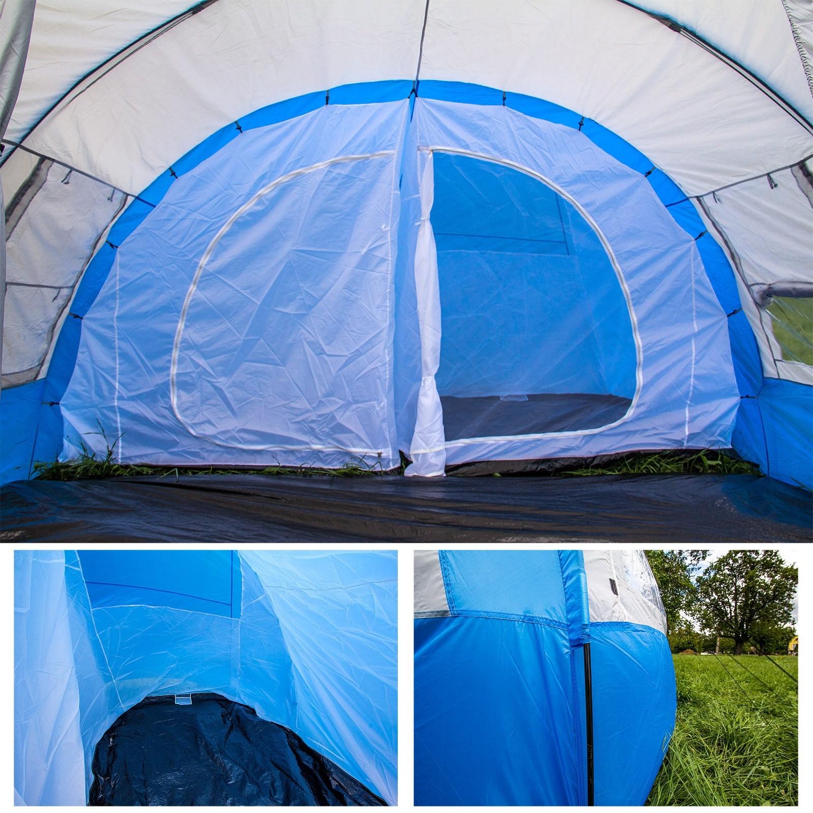 Familienzelt Zelt 6 Personen 480x365x215cm Blau Weiß Paradiso