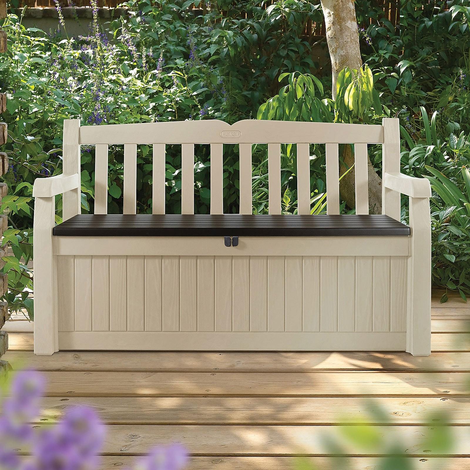 keter aufbewahrungsbox eden mit sitzbank beige braun 265 liter. Black Bedroom Furniture Sets. Home Design Ideas