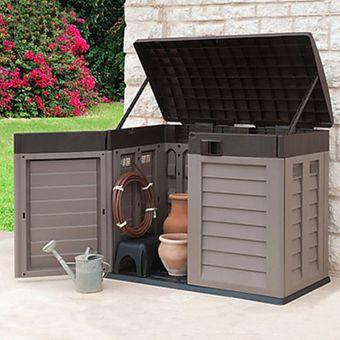 Garten Geräte Aufbewahrungsbox / Mülltonnenbox 2 x 240 = 480 Liter – Bild $_i