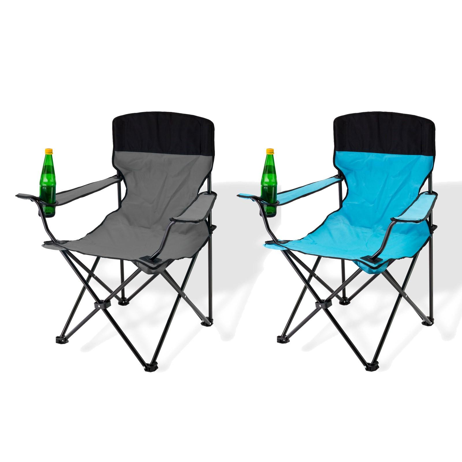 Dema Campingstuhl / Faltstuhl 2er Set grau und blau Getränkehalter Tasche 94052-94053