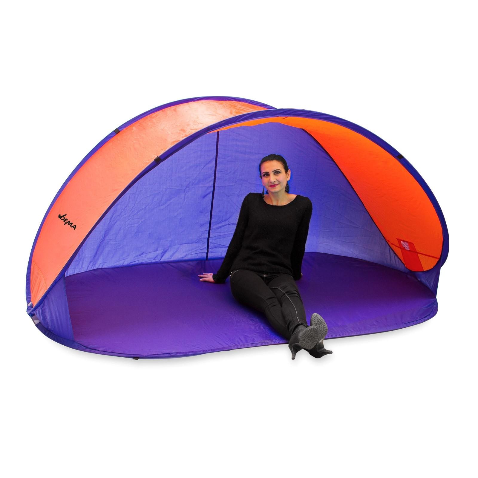 Dema Strandmuschel Pop Up Strandzelt Sonnenschutz Windschutz orange/blau Wurfzelt 43241