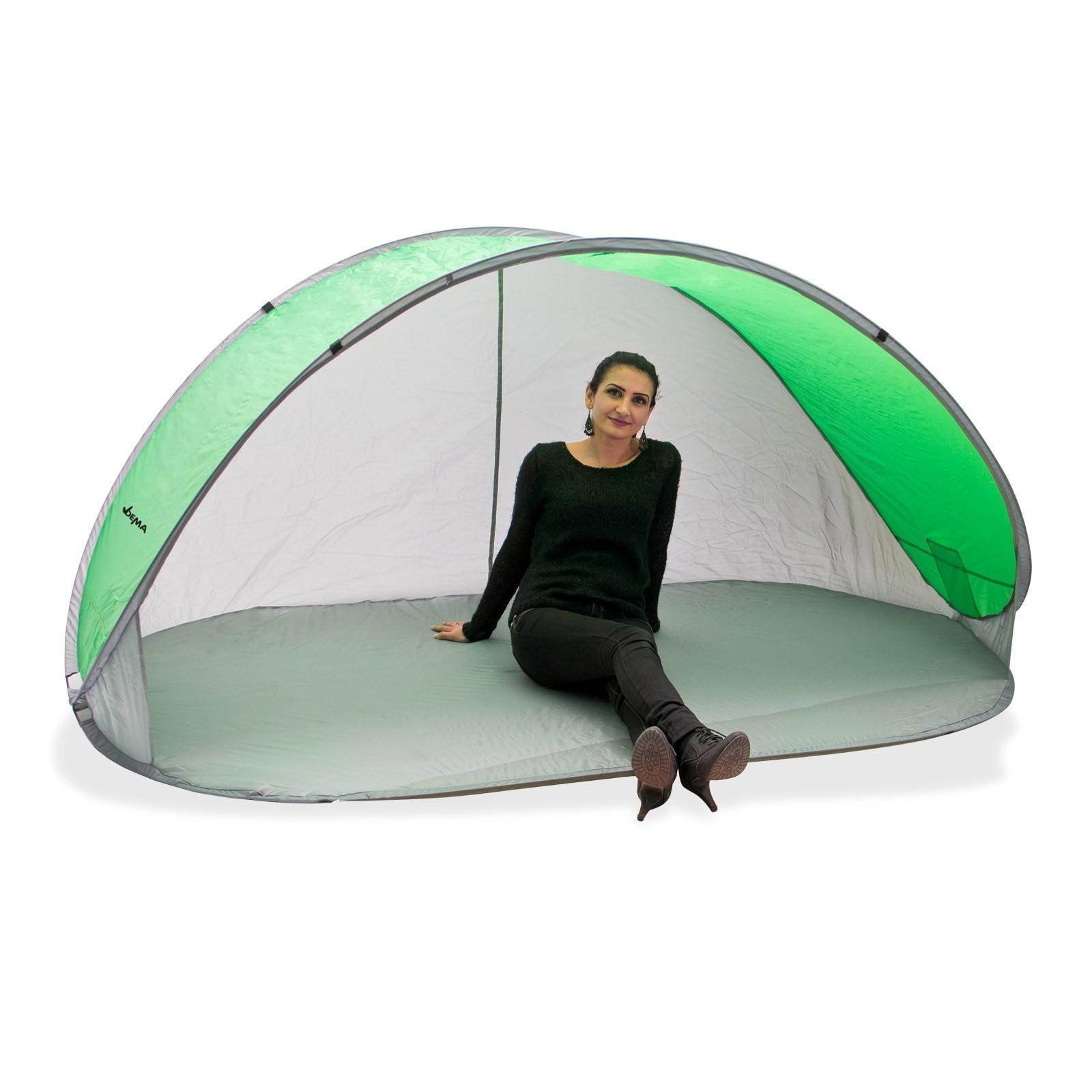 Dema Strandmuschel Pop Up Strandzelt Sonnenschutz Windschutz grün/grau Wurfzelt 43242