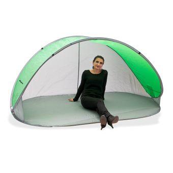 Strandmuschel Pop Up Strandzelt Sonnenschutz Windschutz grün/grau