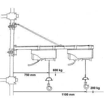 Güde Schwenkarm / Träger 1200 100-600kg für Seilzug / Seilwinde – Bild $_i