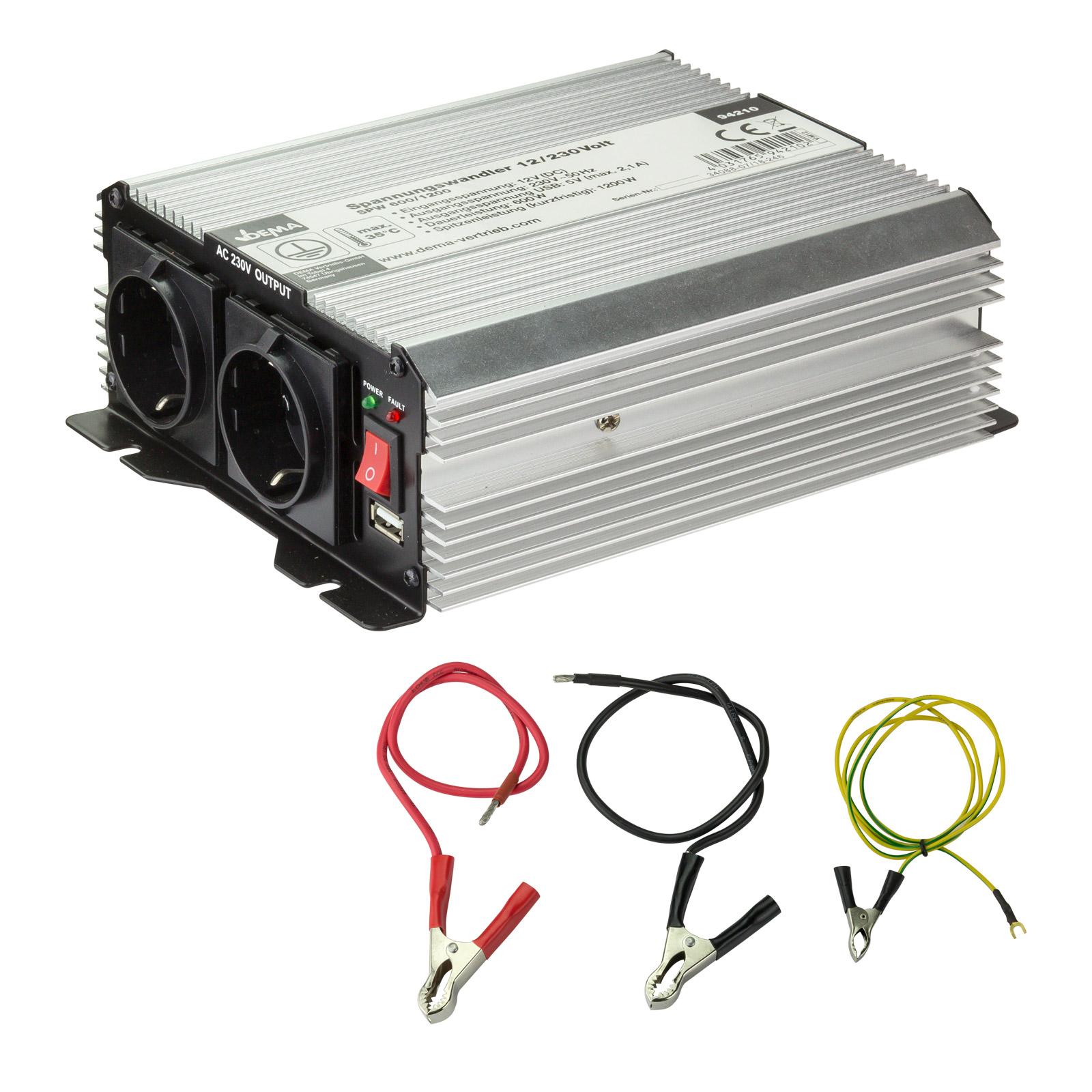 Dema PKW KFZ Wandler Spannungswandler 12/230 Volt 600 / 1200 Watt Wechselrichter 94210