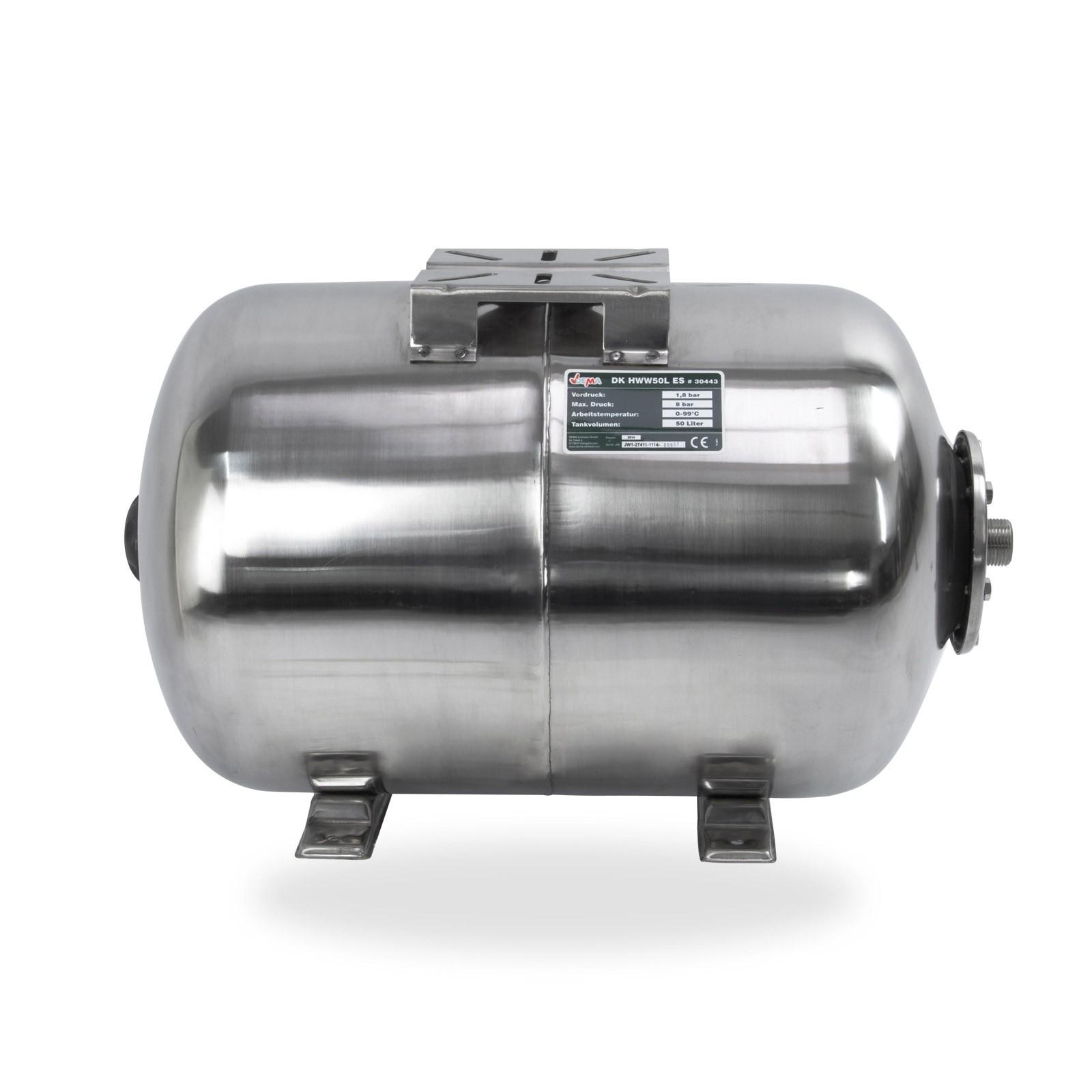 Edelstahl Membran Druckkessel für Hauswasserwerk HWW 50 Liter 8 bar