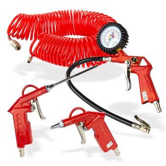 Druckluft Werkzeugset 4 teilig Ausblaspistole Reifenfüller Spiralschlauch – Bild $_i