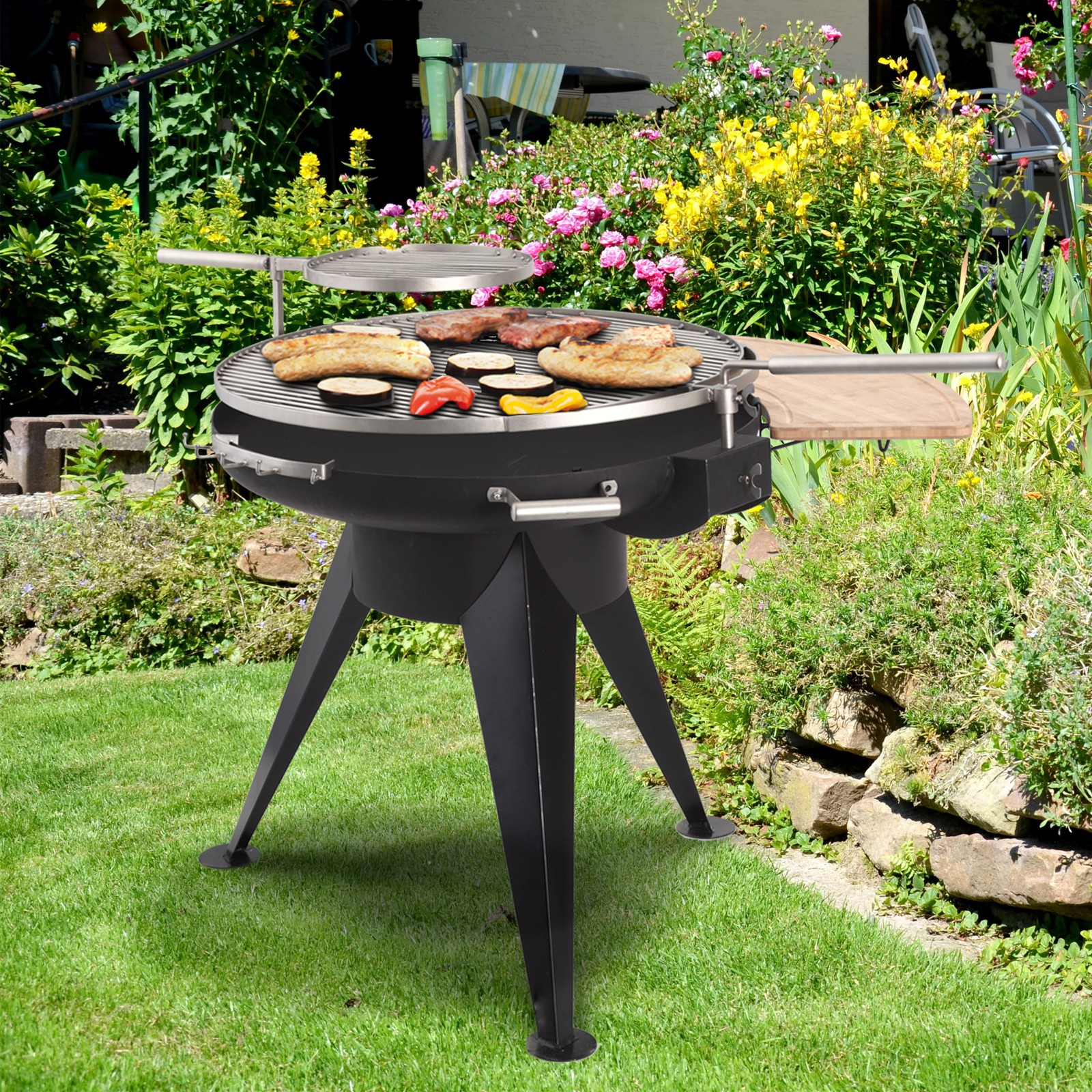 Tepro holzkohlegrill standgrill cranford schwenkrost for Outdoorkuche mit grill