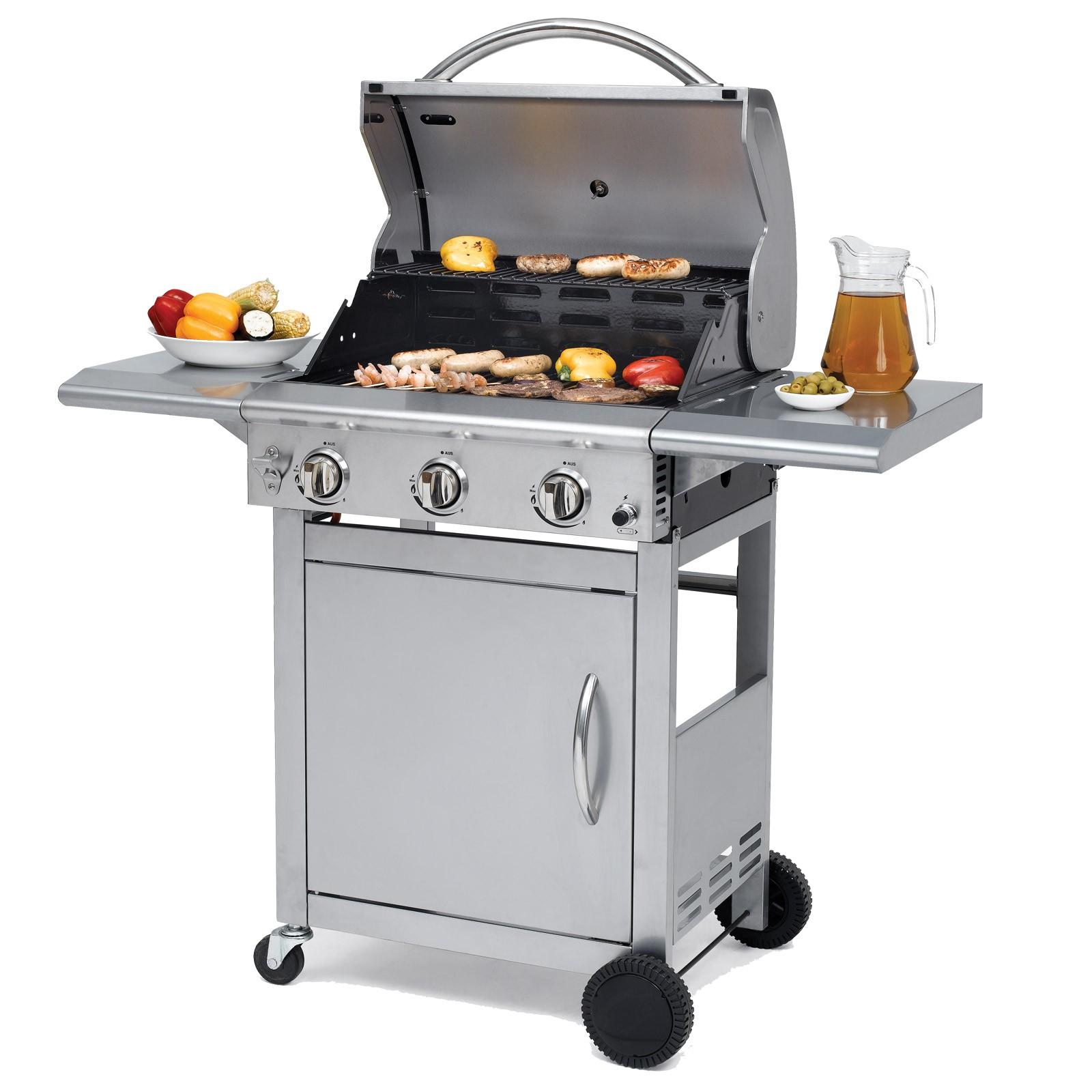 tepro edelstahl gasgrill 3 brenner grillwagen bbq grill calverton silber ebay. Black Bedroom Furniture Sets. Home Design Ideas
