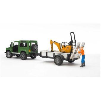 Bruder Land Rover Defender mit Anhänger, Cat und Bauarbeiter – Bild $_i